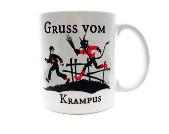 GRUSS Vom Krampus  - Christmas Devil - 11 ounce DISHWASHER / Microwave Coffee Mug - Superb GIFT - May Add Own Text