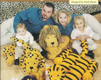Crochet Jungle Cats Leopard Lion Tiger Needlecraft Shop Book and Instructions Animal Pillow Childs Room Decor