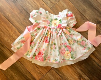 Traditional girls dress.  Girls Vintage Style Dress. Hand Made Dress.  Pastel Floral dress. Made in the UK.  Girls Summer dress. Party dress