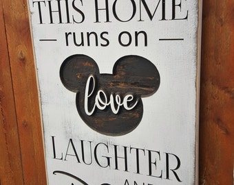 "Custom Carved Wooden Sign - ""This Home Runs On Love, Laughter and Lots of Disney"""