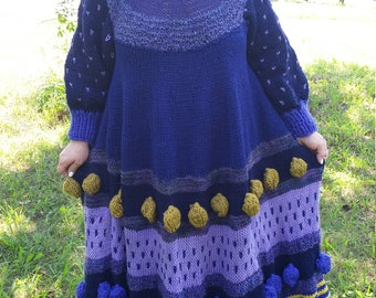 WINTER SALE! 20% OFF! Handknitted Lagenlook Balloon Maxi Dress with long sleeves