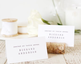 Typewriter Place Card Template, Printable Escort Cards, Vintage Library, Word or Pages, Mac or PC, Instant DOWNLOAD