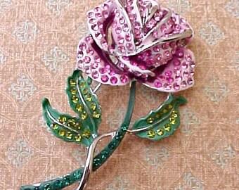Lovely Single Pink Rose Vintage Rhinestone Brooch