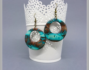 Pair of earrings turquoise and chocolate