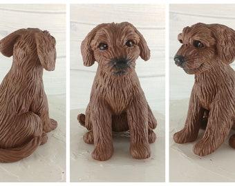 Dog Goldendoodle Sculpture - Realistic Dog Figurine - Goldendoodle Wedding Cake Topper