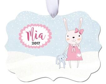 Christmas Ornament, Baby Ornament, Girls Ornament, Personalized Ornament, Personalized Christmas Ornament, Kids Ornament, Bunny Ornament