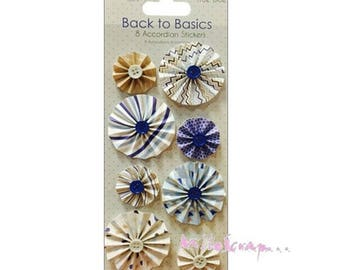 "Set of 8 flowers ""True Blue"" scrapbooking embellishment stickers roundels card (ref.110). *."
