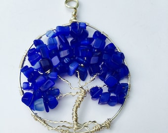 Pendant -Tree Of Life Pendant Blue Chip Beads