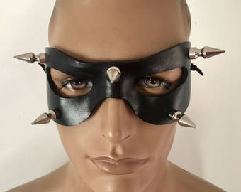 LEATHER MASK w Spikes Black molded Leather Mask; Batman, Masquerade Mardi Gras, Punk Cosplay Very Comfortable