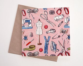 Sewing Art Greeting Card | Any Occasion | Blank Inside