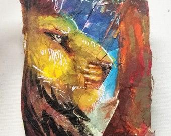 "Original Collage ACEO ""Lion"""