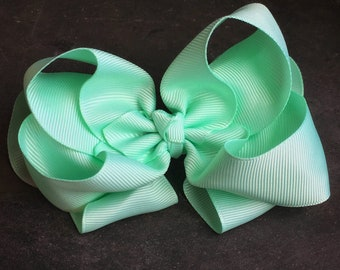 Light Seafoam Green 6 Inch Double Stacked Bow