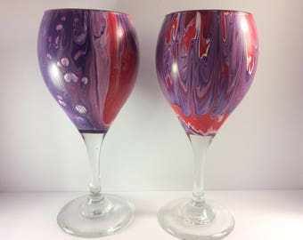 Two 10.75oz. Original Hand-Painted Wine Glasses