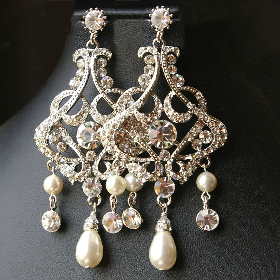 Chandelier wedding bridal earrings vintage style statement zoom aloadofball Gallery