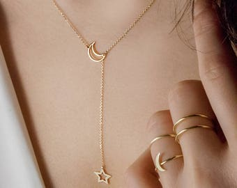 Moon Star Necklace, Gold Lariat Necklace, Moon Necklace, Gold Crescent Moon, 14K Gold Necklace, Yellow Gold, Gold Star Lariat, Gift For Her