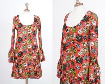 Vintage Paul Smith Drop Waist Floral Silk Long Sleeve Dress / Size 40