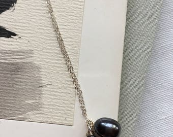 Navy Freshwater Pearl and Iolite Necklace with Sterling silver