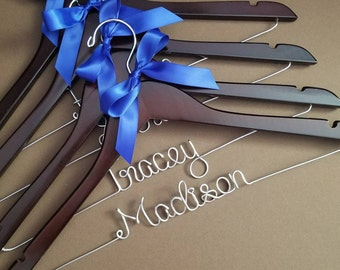 SALE - Set of 6 Personalized Wedding Hangers, Bridal Hanger Set, Perfect for Bridal Party! Ribbon Color of your choice!