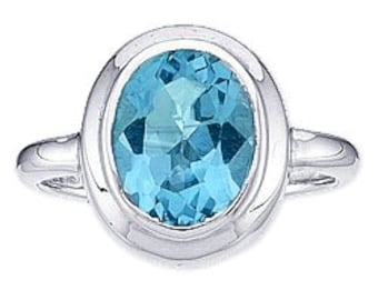 Blue Topaz and Sterling Silver Ring Size 8