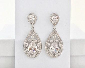 Bridal Cubic Zirconia Earrings Wedding Teardrop Earrings Wedding Crystal Earrings Rhodium Crystal Dangle Earrings Bridesmaid Crystal Jewelry