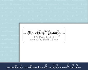 Handlettered Adhesive Return Address Labels, Calligraphy, Script, Handwritten, Many font choices