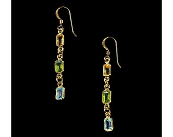 Emerald-cut Citrine, Peridot, Blue Topaz and Gold Earrings, Gold Jewelry for Her, Gold Earrings, Wedding Jewelry, November Birthstone