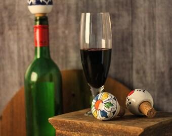 6 Ceramic Hand painted Wine Bottle Stopper, Bottle Stopper