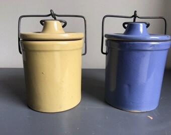 Vintage Ceramic Jars with Locking Lids