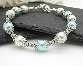 Aqua Bridesmaid Bracelet, Pale Blue Pearl Jewellery, Aqua and Ivory Wedding, Bridal Party Gifts, Blue Bridesmaid Jewellery,