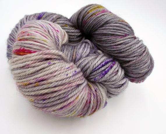 Hand Dyed Yarn 100% Superwash Merino Yarn Worsted Weight Yarn - 220 Yards - Tonal Grey Yarn Pink Speckled Yarn  - Elephants Birthday
