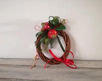 Ceramic pomegranates wreath, small pomegranates wreath of red pomegranates, wicker, ribbons and strings, mini pomegranates wreath