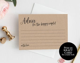 Advice Card Template, Wedding Advice Card, Kraft, Advice Card Printable, Marriage Advice, Wedding Printable, Instant Download, MM02-2