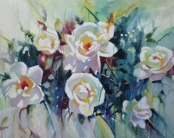 Sweetbrier, Contemporary Floral Oil painting on canvas