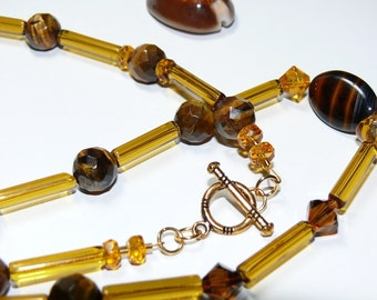 Golden Delight.. Glass Amber Tubular Beads with Tiger Eye and Swarovski Beaded Long Handmade Ladies Necklace