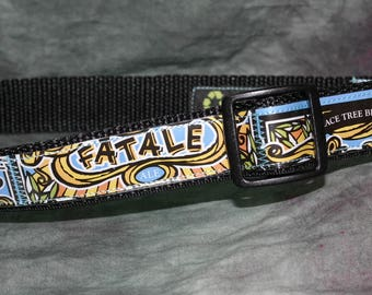 Adjustable Dog Collar from recycled Peace Tree Brewing Fatale Ale Beer Labels