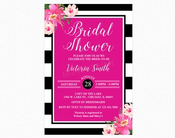Hot Pink and Black White Stripes Bridal Shower Invitations, Kate Spade Inspired, Personalized, Printable or Printed Invitations