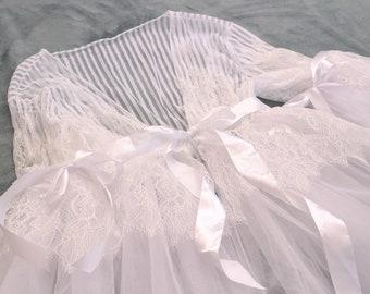 White Lace Boudoir Dress Wedding Nightgown Lingerie
