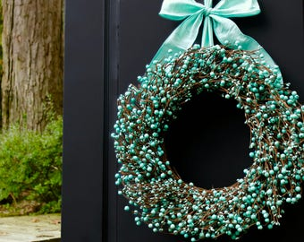 Turquoise Wreath - Robins Egg Blue Wreath - Year Round Wreath - Spring Wreath