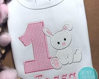 Bunny First Birthday Shirt / Bunny Birthday / 1st Birthday Bunny / Baby Bunny Birthday Shirt / Bunny Applique Shirt / Easter Birthday Shirt