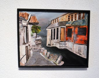 Chinese village, original collage,painting on canvas,wooden frame,landscape