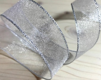 Silver White organza ribbon Silver edge 7/8 in White ribbon Wedding decorations White trim White organza ribbon trim  0.9 inch 2.3 cm