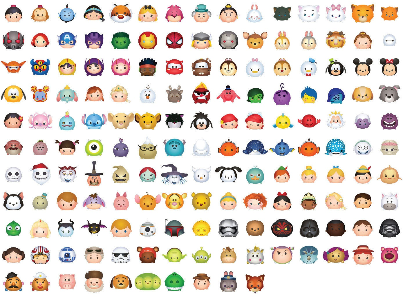 This is a graphic of Agile Tsum Tsum Characters Names