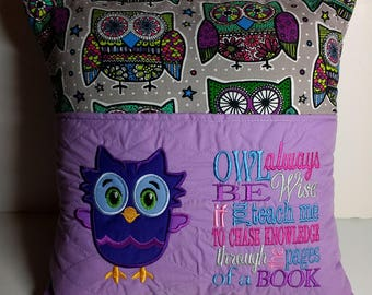 Pocket pillow, reading pillow with Owl and reading saying embroidery, 16x16.