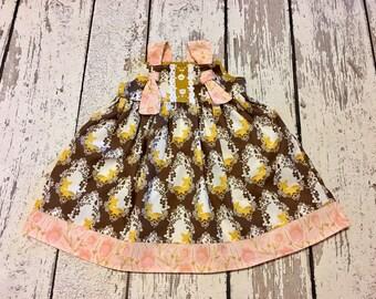 deer dress, fawn deer dress, girls fall woodland dress, deer party dress, fall floral knot dress, fall dress girls, baby fawn dress, deer