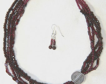 Artisan made 5-strand Garnet Necklace and Earring Set with Sterling Silver
