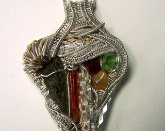 Wire wrap Crystal Pendant Necklace - Moldavite Orange Kyanite Peridot spessartite Garnet Ethiopian Opal Sterling Silver - large genuine raw