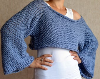 Blue Oversized Sweater - Chunky Merino Sweater - Off Shoulder Sweater - Loose Knit Sweater - Pullover Knitted - Cropped Sweater Hand Knit