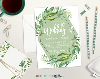 Boho-Inspired Leafy Floral Wedding Invitation Suite // 5x7 // The Lucy Collection // Choose Your Set! // Boho // Modern Geometric