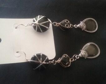 Celtic Earrings, Small Celtic Medallion Earrings, Silver Plated Wire Wrap Earrings, Nickle Free Earrings, Celtic Jewelry