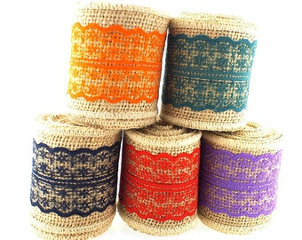 CLEARANCE SALE  - 2.5 Inch Jute Burlap Lace Ribbon - 2 yard spool